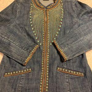 Chico size 1 beaded jean jacket